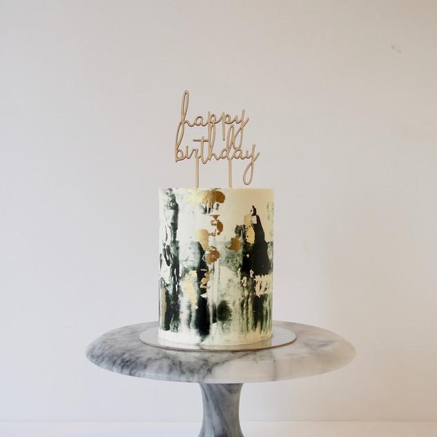 Black, Gold, White Marbled Buttercream Cake