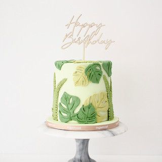 Leaf Print Birthday Cake