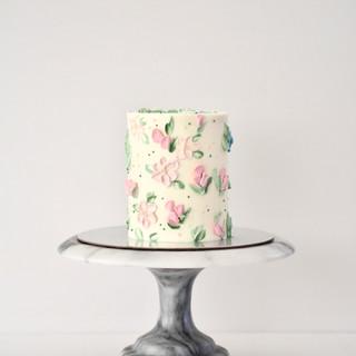 Pink Floral Buttercream Birthday Cake