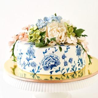 Floral Blue Porcelain Birthday Cake