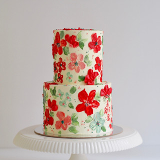 Red and Green Floral Buttercream Birthday Cake