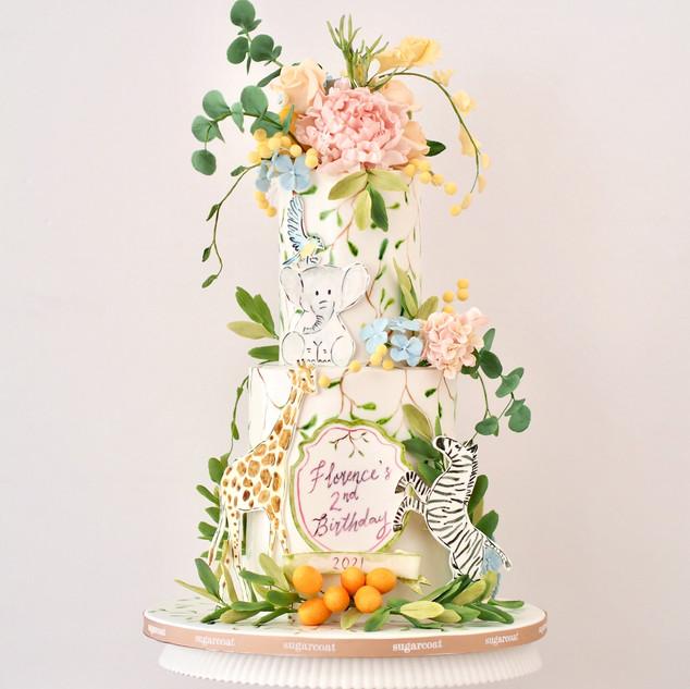 Watercolor Safari Cake