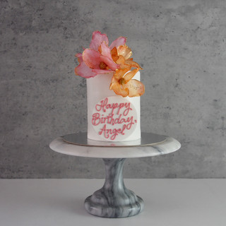 Coral and Orange Floral Birthday Cake