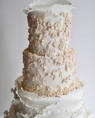 Bas Relief Ruffled Wedding Cake Hong Kong