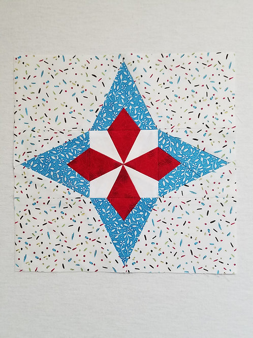 Enigma Four-Pointed Star Quilt Block