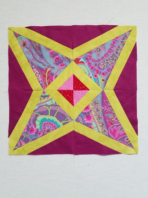 Outlined Four-Pointed Star Quilt Block