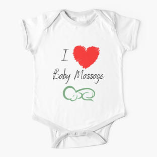 I Love Baby Massage Red Heart Baby One-Piece