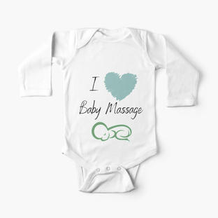I love Baby Massage Blue Heart Baby One-Piece