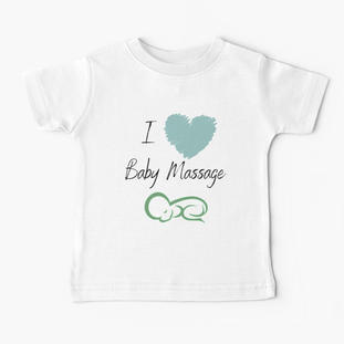 I love Baby Massage Blue Heart Baby T-Shirt
