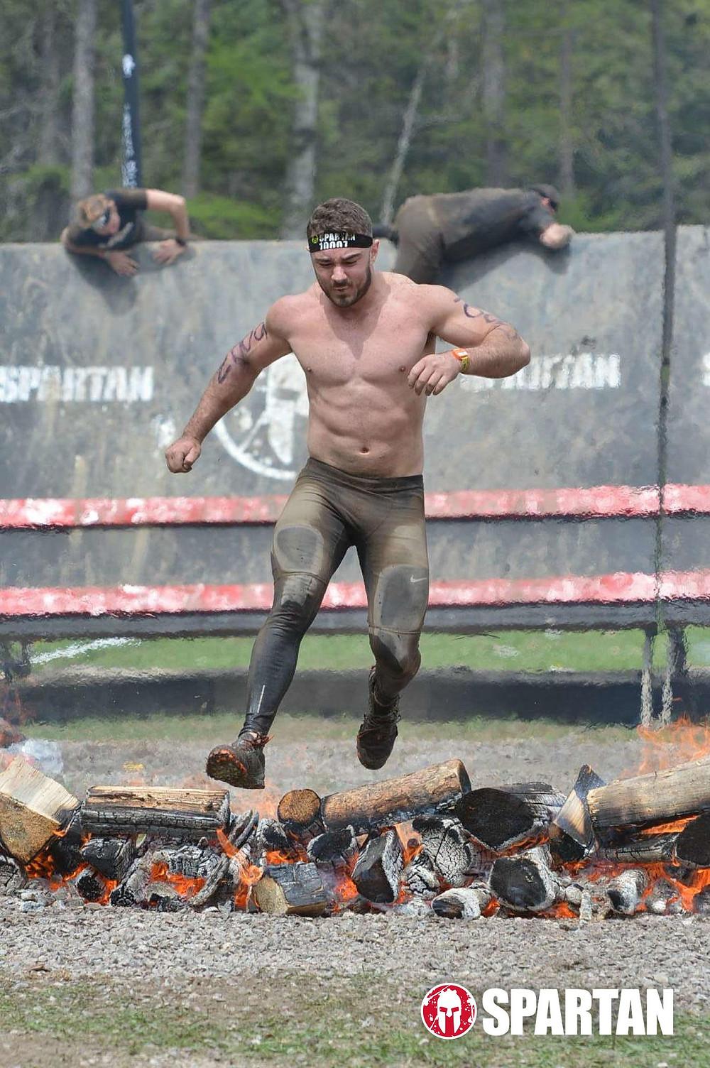 Bryce boepple finishing Montana spartan race