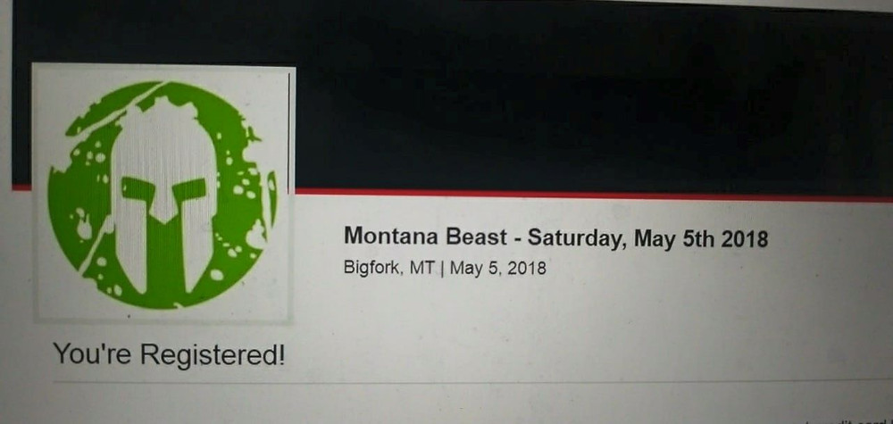 Registration confirmation for Bryce Boepple for Montana Spartan Beast race.