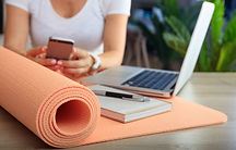 online consult Woman and an exercise mat