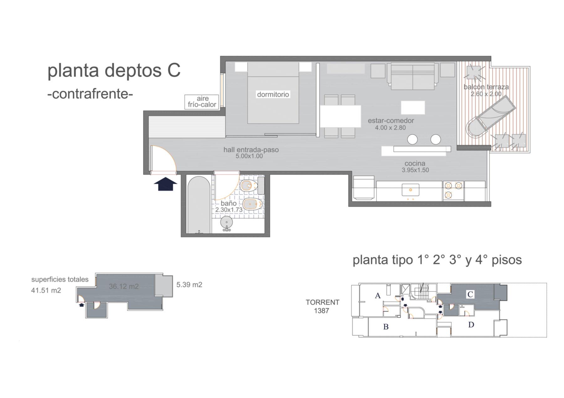 Dpto C piso 1 al 4