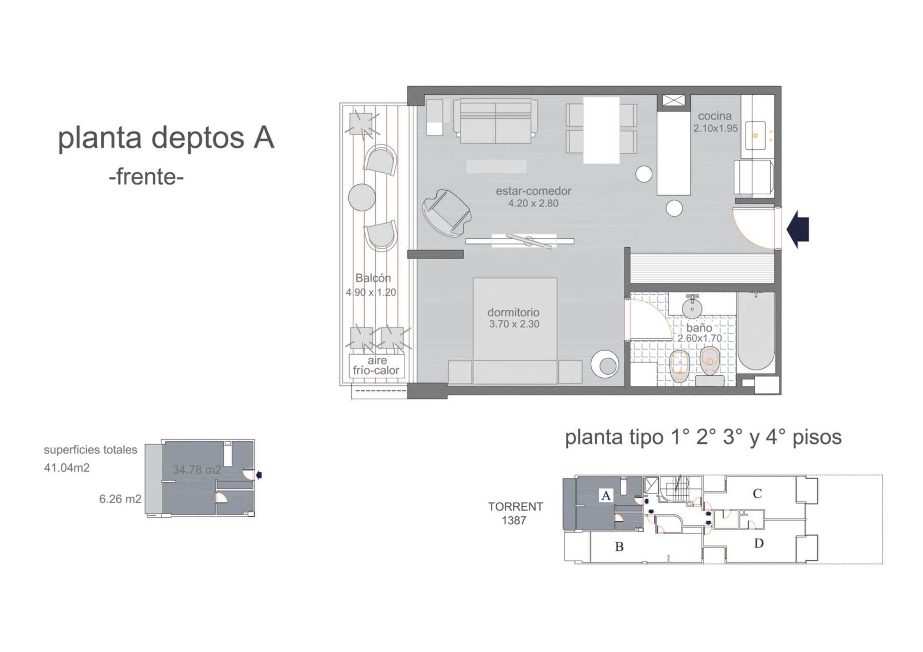 Dpto A piso 1 al 4