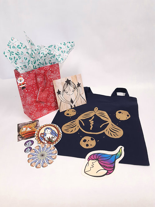 ~Christmas Pack~ N°3 Tote bag+illustration + patch+ stickers