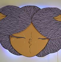 Wood with light led, spray and acrylic 120x80cm