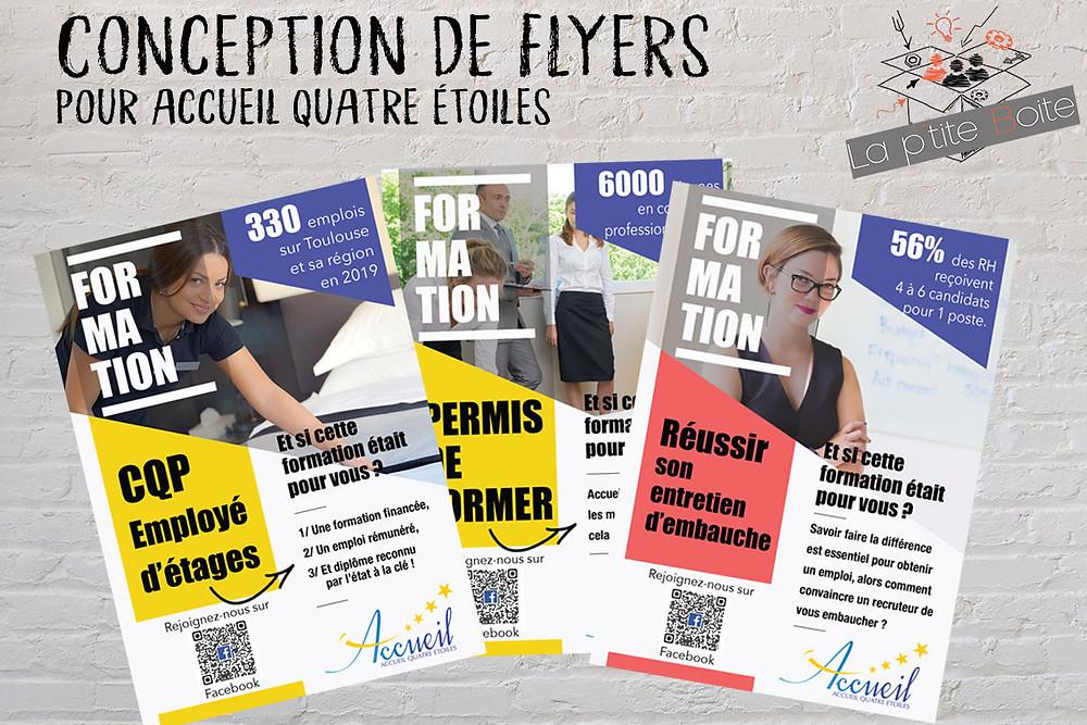 Création de flyers formations Accueil Quatre Etoiles.