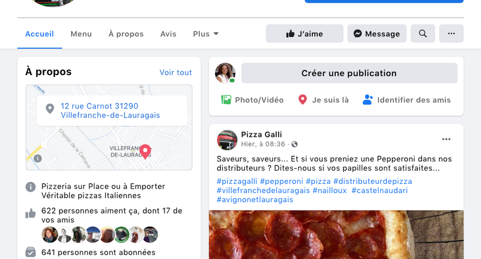 Pizza Galli, page Facebook