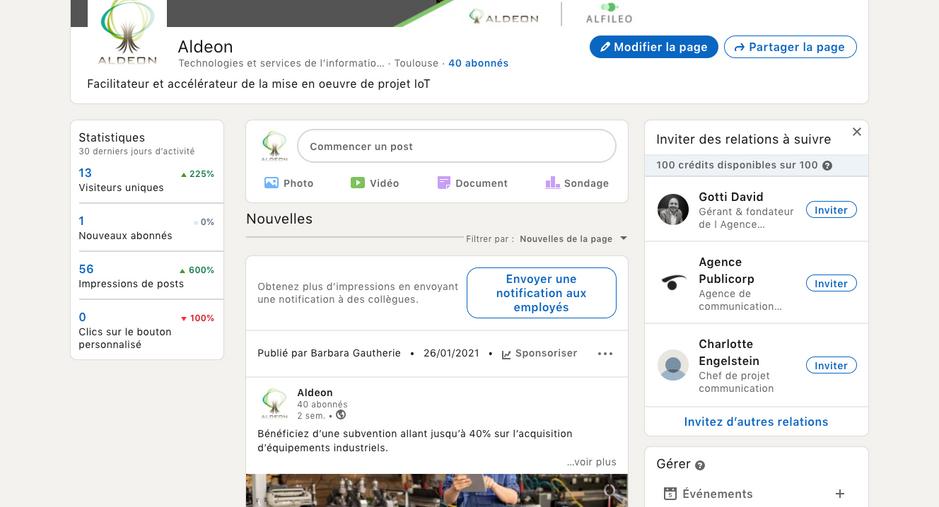 Aldeon, conception et gestion de la page LinkedIn