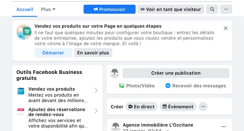 L'Occitane Immobilier, gestion de la page Facebook et LinkedIn