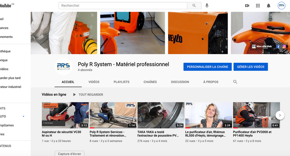 Poly R System - création d'une chaine Youtube