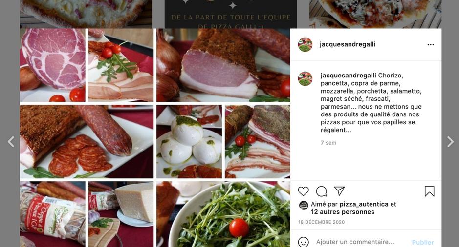 Pizza Galli, compte Instagram