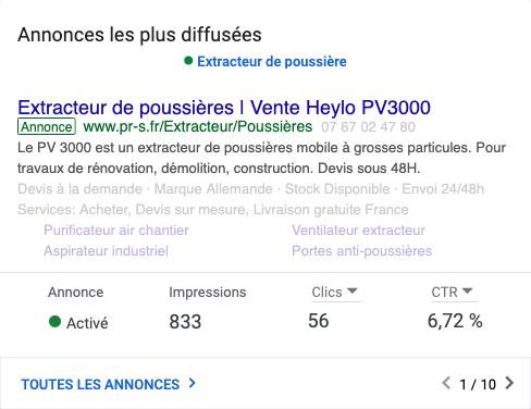 Campagne Google Ads optimisée pour Poly R System