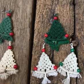 Mom's macrame Holiday ornaments!