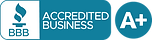 Better Business Bureau. Accredited Business. A+ rating in circle Icon.
