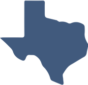 A solid blue shape of the state of Texas..