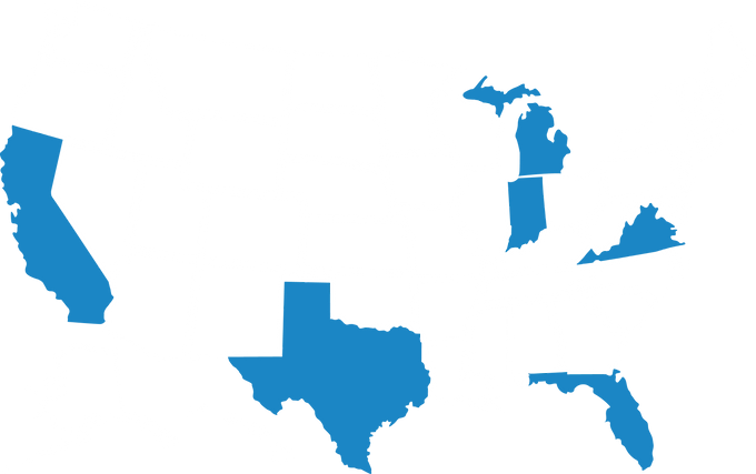 Image of state map of the United States. California, Texas, Indiana, Michigan, Kentucky, and Florida are blue and the remaining states are white.