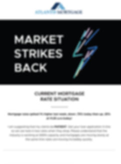 An image of tablet showing an Atlantis Mortgage Email example titled the market strikes back with a blue lightning bolt