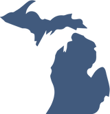 A solid blue shape of the state of Michigan..