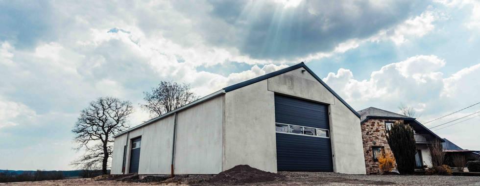 Hall Strucutre bois lamellé-collé, Salle de loisirs,  Element en beton