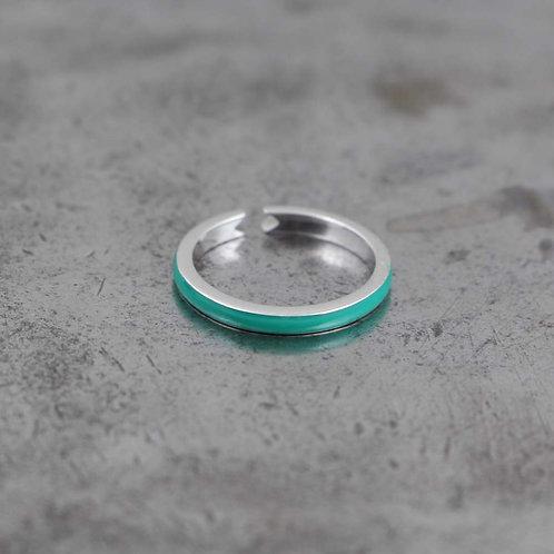 Sterling Silver Teal Enamel Stack Ring