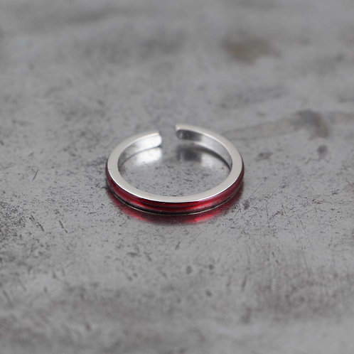 Sterling Silver Red Enamel Stack Ring