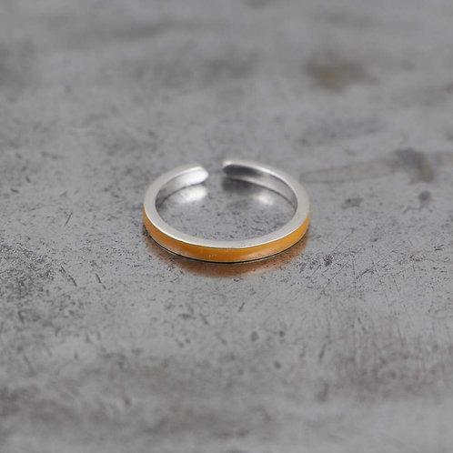 Sterling Silver Orange Enamel Stack Ring
