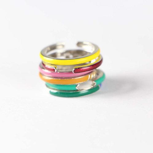 Sterling Silver Multi Color Enamel Stack Rings Set of 6