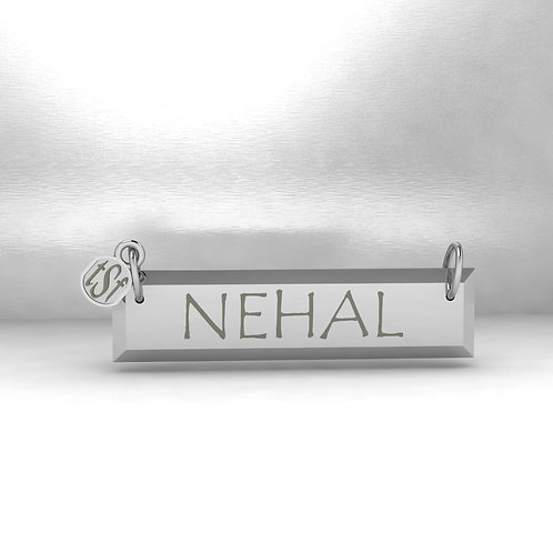 TSF Tapered Edge Rectangle 925 Silver Name Necklace