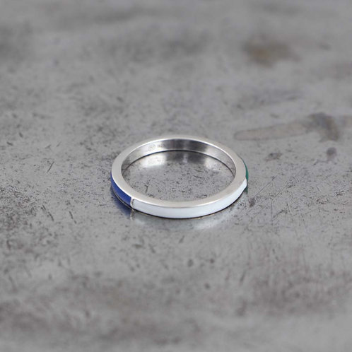 Sterling Silver Tricolor Blue, Green and White Enamel Stack Ring
