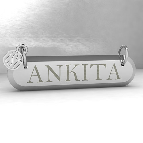 TSF Tapered Edge Curved Corner 925 Silver Name Necklace