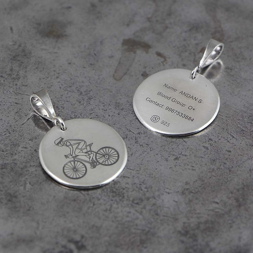 Sterling Silver Handmade Custom Engravable Cycling Pendant