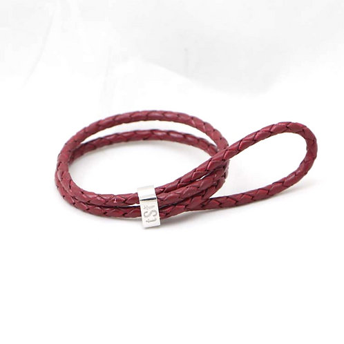 TSF Elastic Band- Sterling Silver with Real Leather