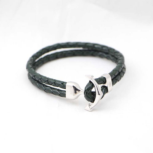 """TSF """"Anchor"""" Leather Band- Sterling Silver and Real Leather"""