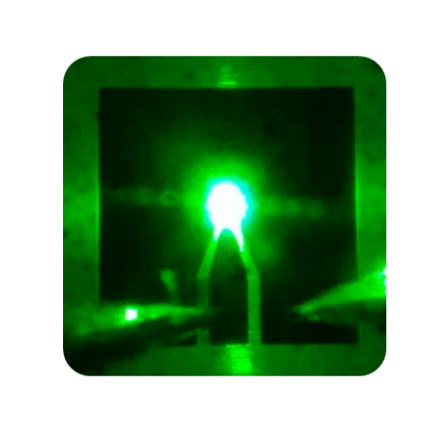 (50 µm 綠光Micro LED;圖片來源:交通大學)