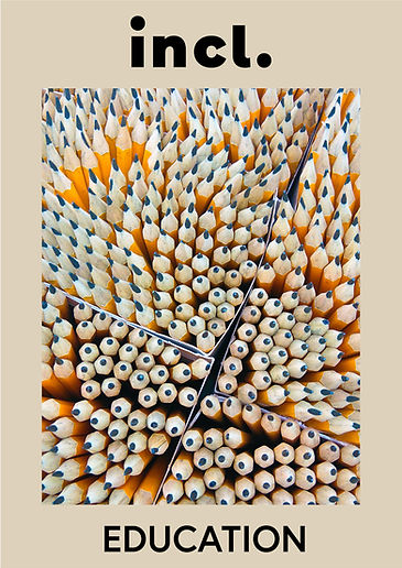 A collection of yellow pencils facing up with a cream background