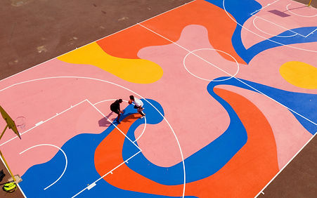 Image of a colourful basketball court