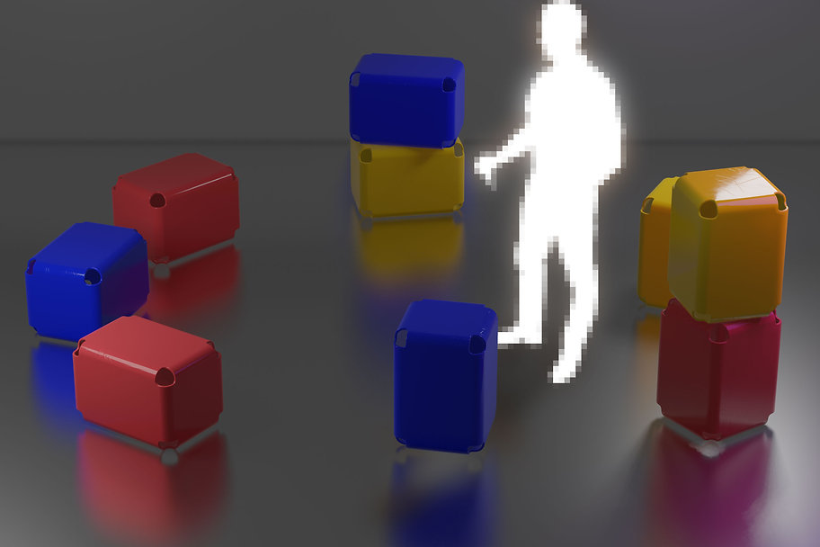 A person surrounded by colour blocks