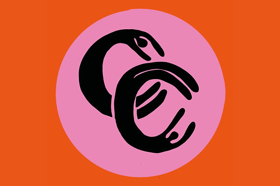 Orange background with a pink circle including 2 of the letter c like hands