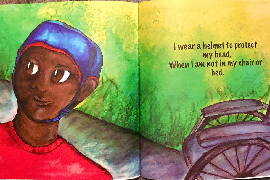 Illustration of a young black boy with a blue helmet and a wheelchair
